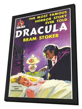 Dracula - 11 x 17 Retro Book Cover Poster - in Deluxe Wood Frame