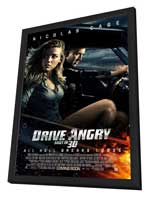 Drive Angry 3D - 11 x 17 Movie Poster - Style A - in Deluxe Wood Frame