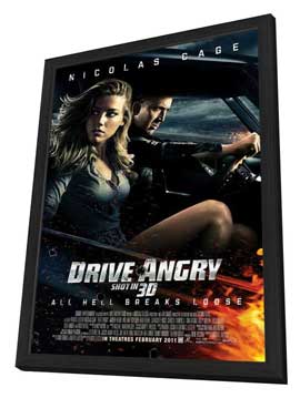 Drive Angry 3D - 27 x 40 Movie Poster - Style B - in Deluxe Wood Frame