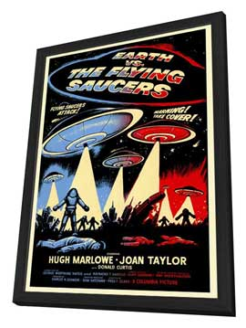 Earth vs. the Flying Saucers - 27 x 40 Movie Poster - Style A - in Deluxe Wood Frame