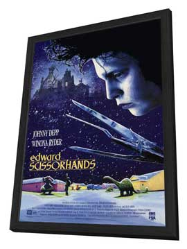 Edward Scissorhands - 27 x 40 Movie Poster - Style A - in Deluxe Wood Frame