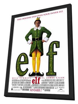 Elf - 27 x 40 Movie Poster - Style A - in Deluxe Wood Frame