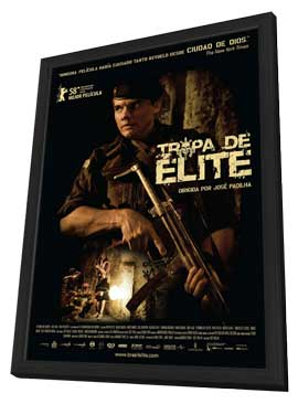 Elite Squad - 11 x 17 Movie Poster - Brazilian Style A - in Deluxe Wood Frame
