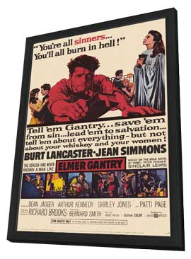 Elmer Gantry - 11 x 17 Movie Poster - Style A - in Deluxe Wood Frame