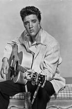 Elvis Presley - Elvis Presley Playing Guitar and Seated in Black and White