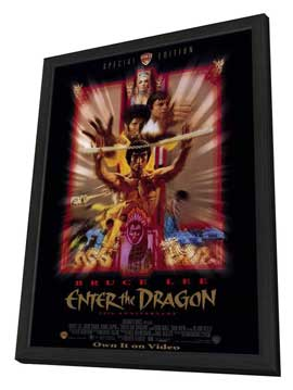 Enter the Dragon - 11 x 17 Movie Poster - Style B - in Deluxe Wood Frame