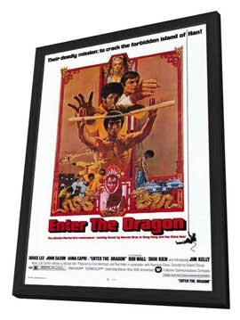 Enter the Dragon - 27 x 40 Movie Poster - Style A - in Deluxe Wood Frame