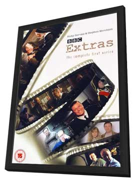Extras - 11 x 17 Movie Poster - UK Style A - in Deluxe Wood Frame