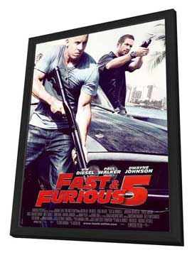Fast Five - 27 x 40 Movie Poster - French Style A - in Deluxe Wood Frame