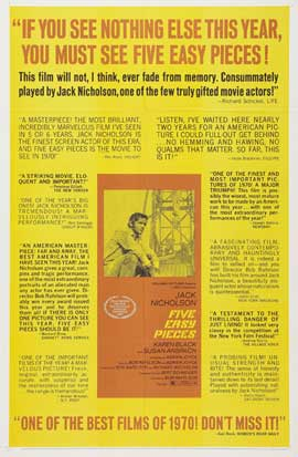 Five Easy Pieces - 27 x 40 Movie Poster - Style G