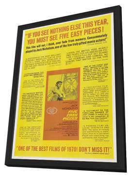 Five Easy Pieces - 27 x 40 Movie Poster - Style G - in Deluxe Wood Frame