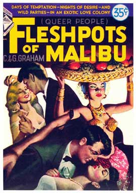 Flesh Pots of Malibu - 11 x 17 Retro Book Cover Poster
