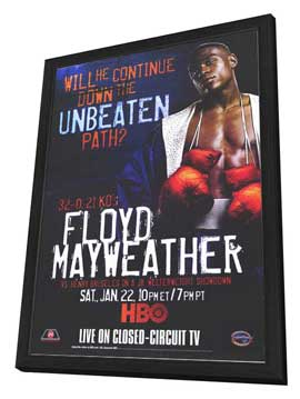 Floyd Mayweather vs Henry Bruseles - 11 x 17 Boxing Promo Poster - Style A - in Deluxe Wood Frame