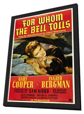 For Whom the Bell Tolls - 11 x 17 Movie Poster - Style B - in Deluxe Wood Frame