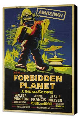 Forbidden Planet - 27 x 40 Movie Poster - Style G - Museum Wrapped Canvas