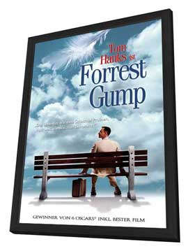 Forrest Gump - 27 x 40 Movie Poster - German Style A - in Deluxe Wood Frame