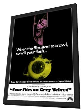 Four Flies on Grey Velvet - 11 x 17 Movie Poster - Style A - in Deluxe Wood Frame