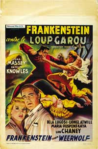 Frankenstein Meets the Wolfman - 27 x 40 Movie Poster - Belgian Style A
