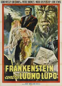 Frankenstein Meets the Wolfman - 27 x 40 Movie Poster - Italian Style B
