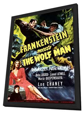 Frankenstein Meets the Wolfman - 11 x 17 Movie Poster - Style D - in Deluxe Wood Frame