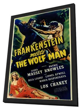 Frankenstein Meets the Wolfman - 27 x 40 Movie Poster - Style A - in Deluxe Wood Frame