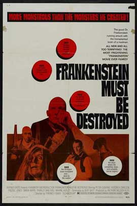 Frankenstein Must Be Destroyed - 27 x 40 Movie Poster - Style C