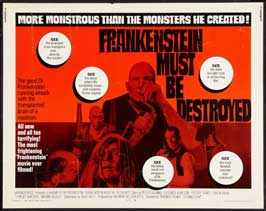 Frankenstein Must Be Destroyed - 22 x 28 Movie Poster - Half Sheet Style A