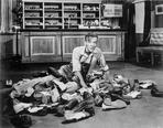 Fred Astaire - Fred Astaire with Shoes on Floor in Black and White