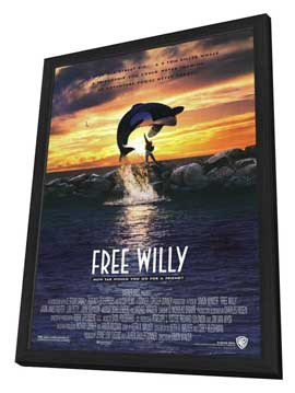 Free Willy - 11 x 17 Movie Poster - Style A - in Deluxe Wood Frame