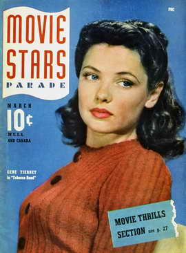 Gene Tierney - 11 x 17 Movie Stars Parade Magazine Cover 1940's