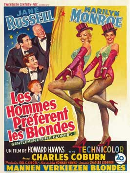 Gentlemen Prefer Blondes - 27 x 40 Movie Poster - Belgian Style A
