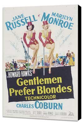 Gentlemen Prefer Blondes - 27 x 40 Movie Poster - Style B - Museum Wrapped Canvas