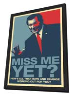 George Bush - 27x40 Political Poster - Rare George Bush - Miss Me Yet? - Vector Poster - in Deluxe Wood Frame