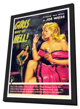 Girls Out of Hell - 11 x 17 Retro Book Cover Poster - in Deluxe Wood Frame