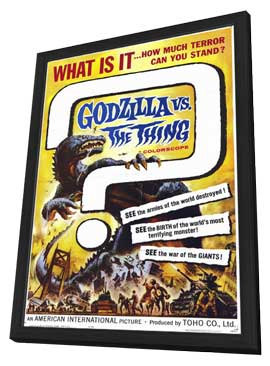 Godzilla vs The Thing - 27 x 40 Movie Poster - Style A - in Deluxe Wood Frame