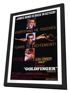 Goldfinger - 27 x 40 Movie Poster - Style A - in Deluxe Wood Frame
