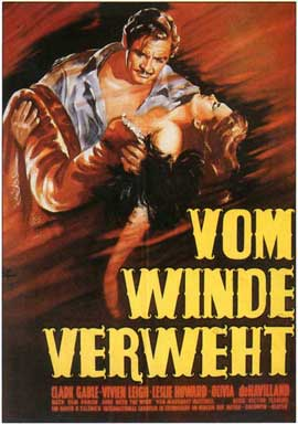 Gone with the Wind - 11 x 17 Movie Poster - German Style A