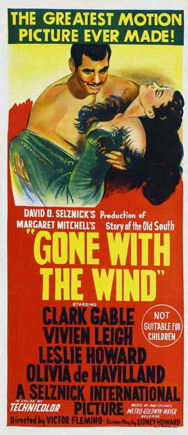 Gone with the Wind - 13 x 30 Movie Poster - Australian Style A