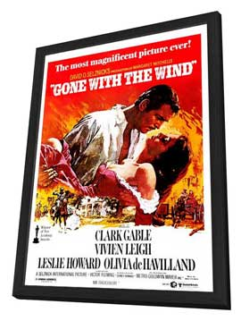 Gone with the Wind - 27 x 40 Movie Poster - Style B - in Deluxe Wood Frame