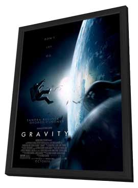 Gravity - 11 x 17 Movie Poster - Style C - in Deluxe Wood Frame