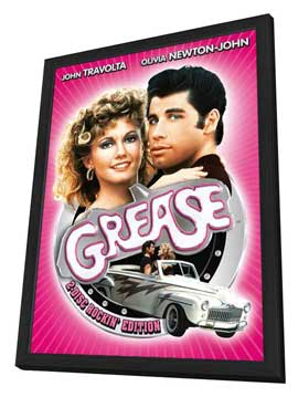 Grease - 11 x 17 Movie Poster - German Style B - in Deluxe Wood Frame
