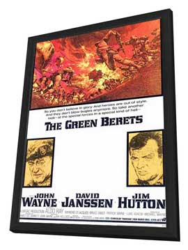 The Green Berets - 11 x 17 Movie Poster - Style A - in Deluxe Wood Frame