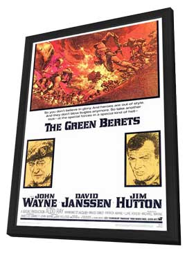 The Green Berets - 27 x 40 Movie Poster - Style A - in Deluxe Wood Frame