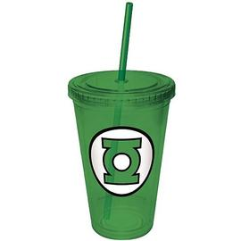Green Lantern - Green Plastic Cup with Straw