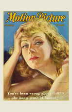 Greta Garbo - 11 x 17 Motion Picture Magazine Cover 1940's Style A