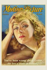 Greta Garbo - 27 x 40 Movie Poster - Motion Picture Magazine Cover 1940's Style A