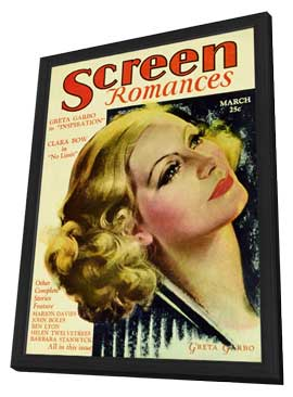 Greta Garbo - 11 x 17 Screen Romances Magazine Cover 1930's - in Deluxe Wood Frame