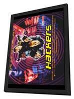 Hackers - 27 x 40 Movie Poster - Style B - in Deluxe Wood Frame