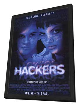 Hackers - 27 x 40 Movie Poster - Style A - in Deluxe Wood Frame