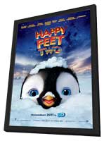 Happy Feet 2 in 3D - 11 x 17 Movie Poster - Style A - in Deluxe Wood Frame